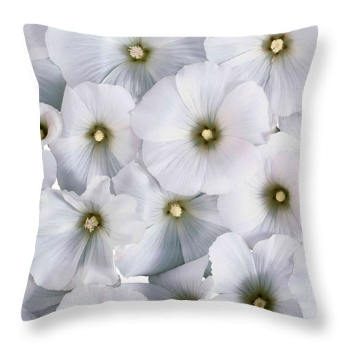 Flower Throw Pillow featuring the photograph White Violets by Aza Johnson