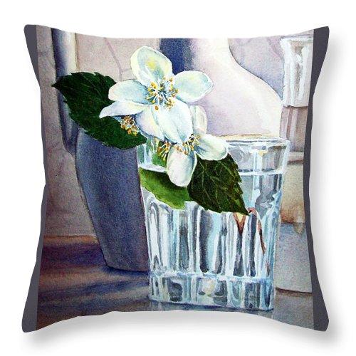 White Throw Pillow featuring the painting White White Jasmine by Irina Sztukowski