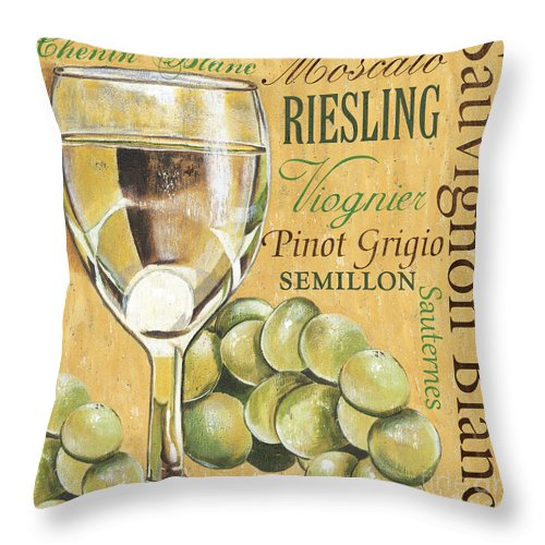 Wine Throw Pillow featuring the painting White Wine Text by Debbie DeWitt