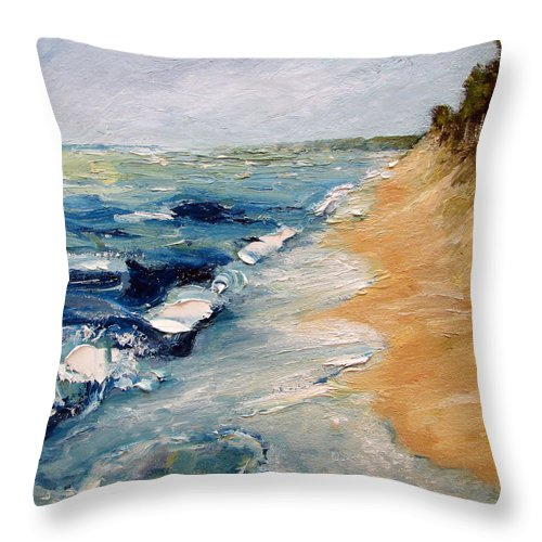 Whitecaps Throw Pillow featuring the painting Whitecaps On Lake Michigan 3.0 by Michelle Calkins
