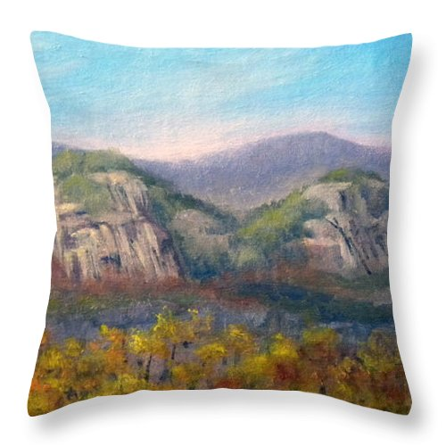 Landscape Throw Pillow featuring the painting Whitehorse and Cathedral Ledges from The Red Jacket Inn by Sharon E Allen