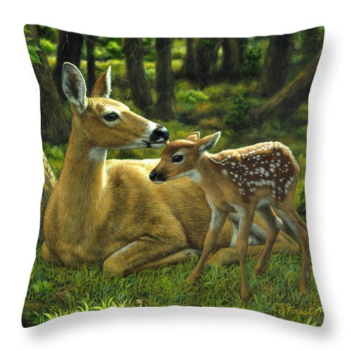 Deer Throw Pillow featuring the painting Whitetail Deer - First Spring by Crista Forest