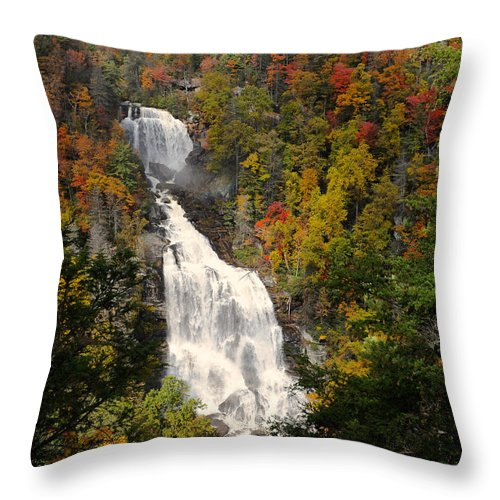 Whitewater Falls Throw Pillow featuring the photograph Whitewater Falls With Fall Leaves - North Carolina Waterfalls Series by Matt Plyler