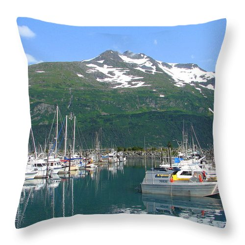 Alaska Throw Pillow featuring the photograph Whittier Harbor by Lew Davis