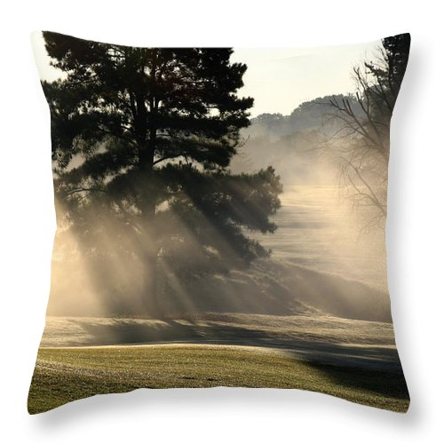 Fog Throw Pillow featuring the photograph Whittle Springs Golf Course by Douglas Stucky