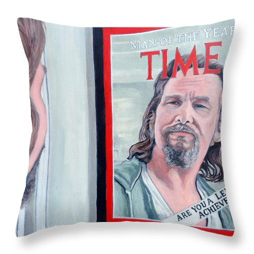 The Dude Throw Pillow featuring the painting Who Is This Guy by Tom Roderick