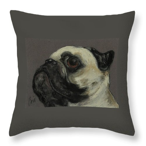 Pastel Throw Pillow featuring the drawing Who Me by Cori Solomon