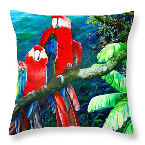 Caribbean Painting Green Wing Macaws Red Mountains Birds Trinidad And Tobago Birds Parrots Macaw Paintings Greeting Card  Throw Pillow featuring the painting Who Me  by Karin Dawn Kelshall- Best