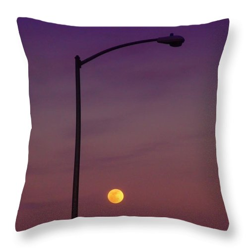 Moon Throw Pillow featuring the photograph Who Needs A Lamp Post by Donna Blackhall