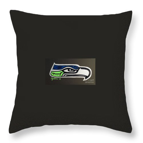 Seattle Seahawks Throw Pillow featuring the painting Who Ready by A Cyaltsa Finkbonner