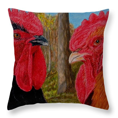 Roosters Throw Pillow featuring the painting Who You Calling Chicken by Karen Ilari