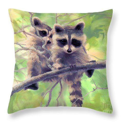 Animals Throw Pillow featuring the painting Whoozat by Steve Orin