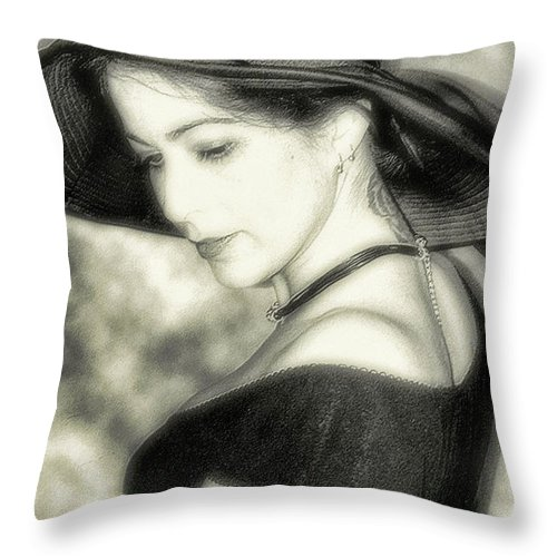 Black And White Throw Pillow featuring the photograph Wiccan Lady by Kristie Bonnewell