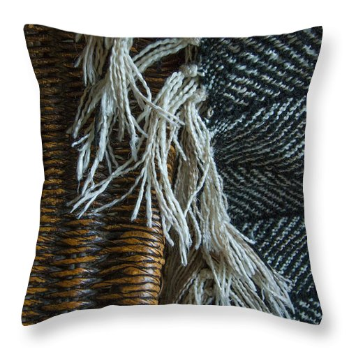 Wicker Throw Pillow featuring the photograph Wicker And Wool by Roger Mullenhour