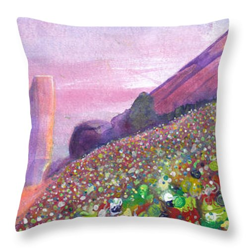 Widespread Panic Throw Pillow featuring the painting Widespread Panic At Redrocks by David Sockrider