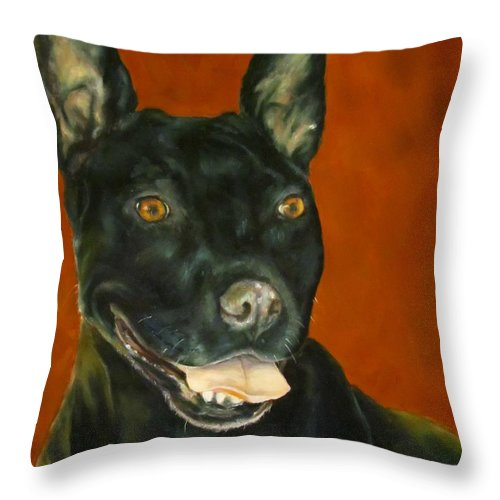 Pet Throw Pillow featuring the painting Wiggles, Dog by Sandra Reeves