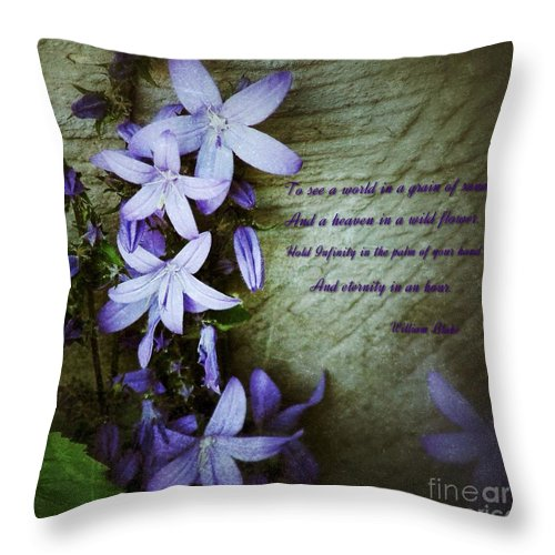 Star Flowers Throw Pillow featuring the photograph Wild Blue Flowers And Innocence 2 by Joan-Violet Stretch