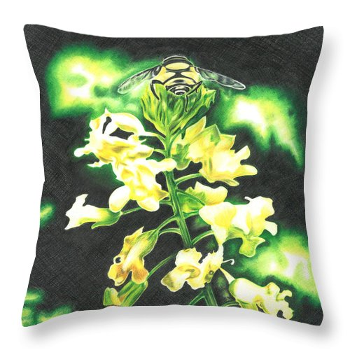Bee Throw Pillow featuring the drawing Wild Flower by Troy Levesque