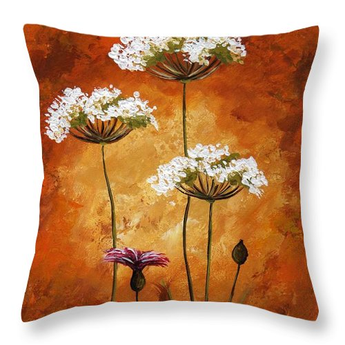 Art Throw Pillow featuring the painting Wild Flowers 041 by Voros Edit