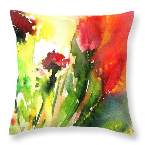 Floral Throw Pillow featuring the painting Wild Flowers 09 by Miki De Goodaboom