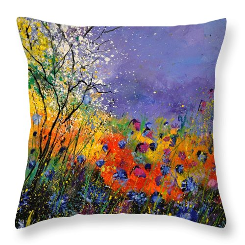 Landscape Throw Pillow featuring the painting Wild Flowers 4110 by Pol Ledent