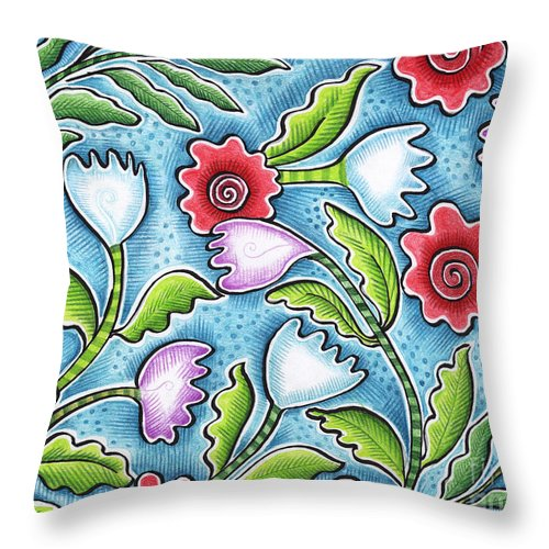 Leafy Throw Pillow featuring the painting Wild Flowers by Elaine Jackson