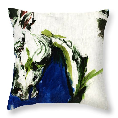 Horse Artwork Throw Pillow featuring the painting Wild Horse by Angel Ciesniarska