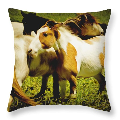Barbara Snyder Throw Pillow featuring the painting Wild Horses In California Series 14 by Barbara Snyder