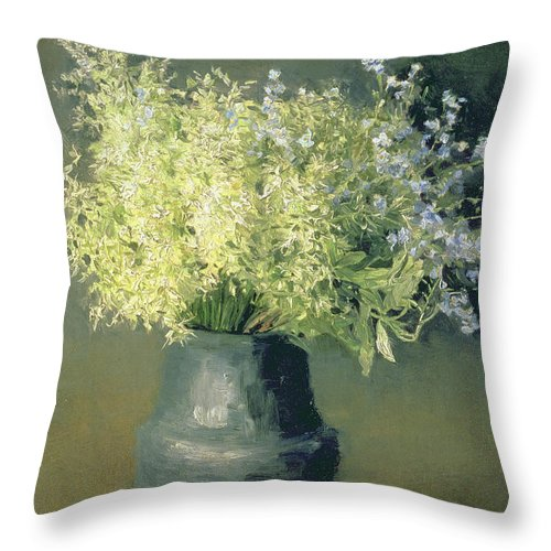 Still-life Throw Pillow featuring the painting Wild Lilacs And Forget Me Nots by Isaak Ilyich Levitan