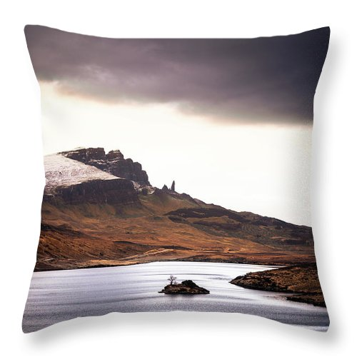 Water's Edge Throw Pillow featuring the photograph Wild Nature Landscape In Scotland, Isle by Zodebala