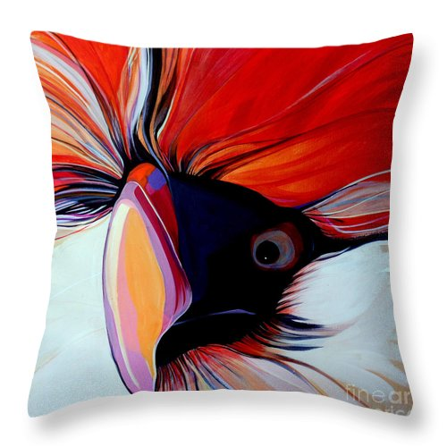 Bird Throw Pillow featuring the painting Wild Thang by Marlene Burns