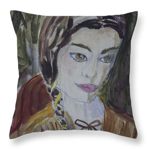 Woman Throw Pillow featuring the painting Wild West Woman by Avonelle Kelsey