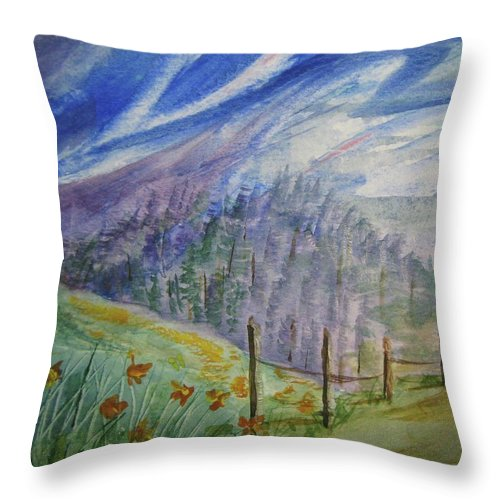 Windy Sky Throw Pillow featuring the painting Wild Winds by Ellen Levinson