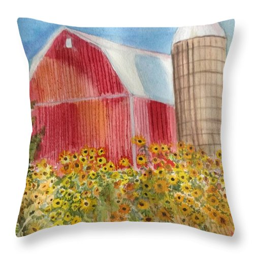 Wildwood Family Farms Throw Pillow featuring the painting Wildwood Farm by Kathy Sievering