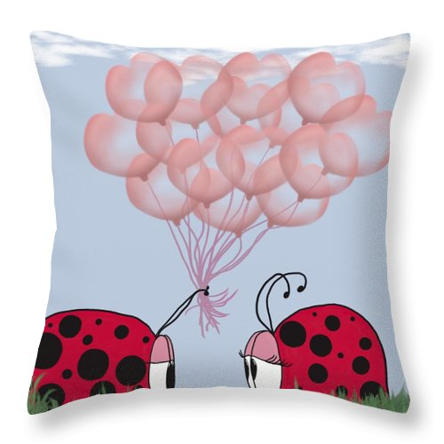 Ladybug Throw Pillow featuring the digital art Will You Be Mine? by Michelle Brenmark