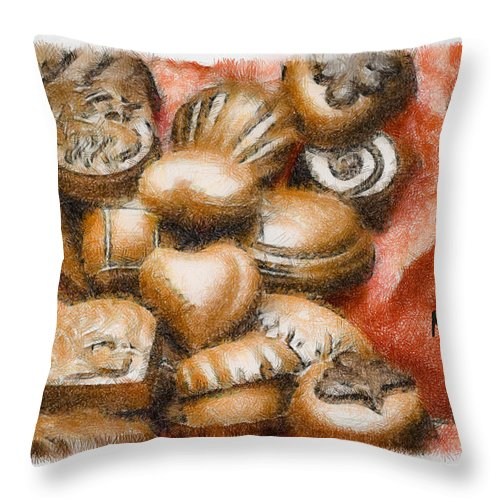 Candy Throw Pillow featuring the mixed media Will You Be Mine by Trish Tritz