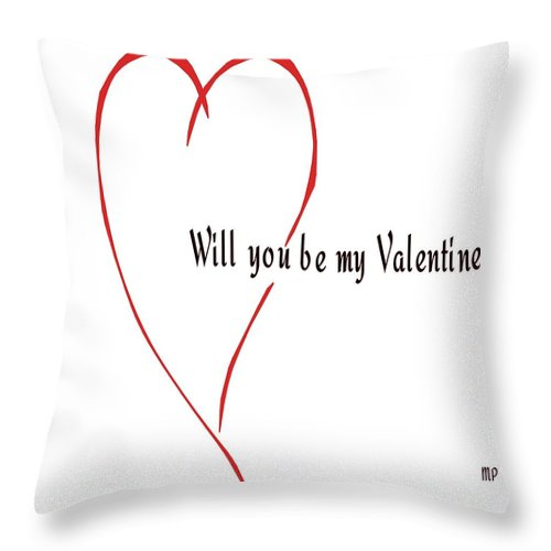 Hearts Throw Pillow featuring the mixed media Will You Be My Valentine? by Marian Palucci-Lonzetta