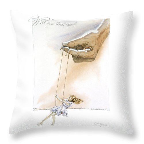 Inspirational Throw Pillow featuring the painting Will You Trust Me Blonde by Cliff Hawley