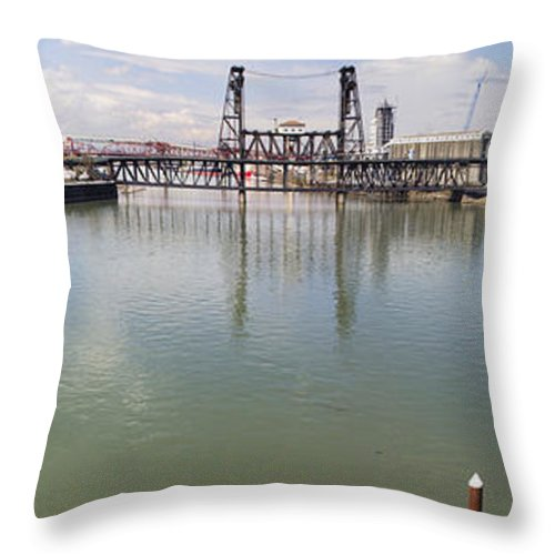 Portland Throw Pillow featuring the photograph Willamette River View From Burnside Bridge by Jit Lim