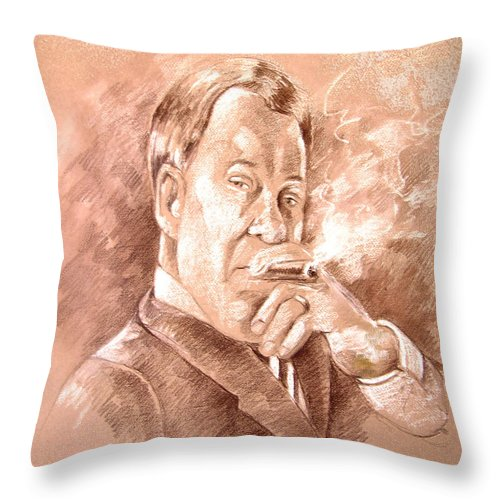 Portrait William Shatner Throw Pillow featuring the painting William Shatner As Denny Crane In Boston Legal by Miki De Goodaboom