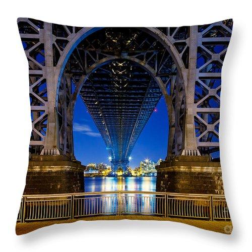 Williamsburg Bridge Throw Pillow featuring the photograph Blue Punch by Az Jackson