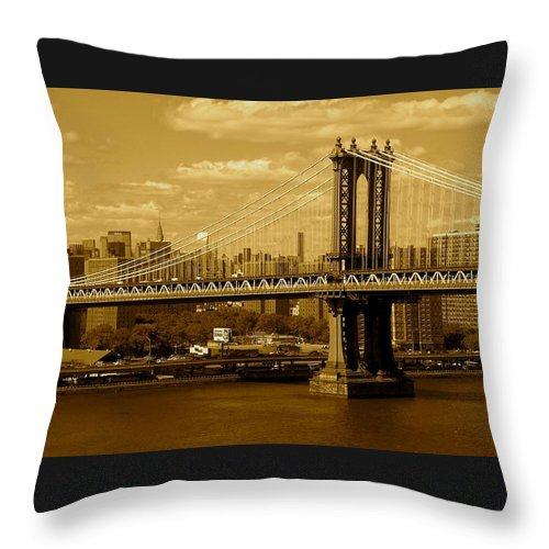Iphone 5 Cover Cases Throw Pillow featuring the photograph Williamsburg Bridge New York City by Monique's Fine Art