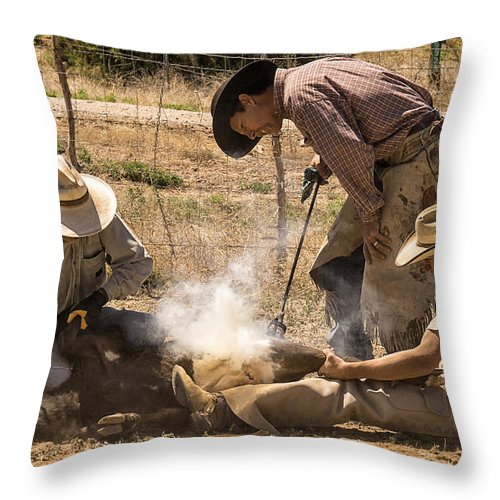 Cattle Roundup Throw Pillow featuring the photograph Williamson Valley Roundup 26 by Priscilla Burgers