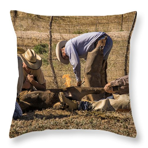 Cattle Roundup Throw Pillow featuring the photograph Williamson Valley Roundup 27 by Priscilla Burgers