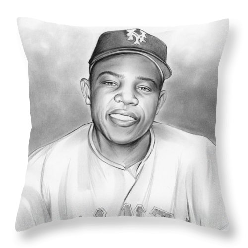 Baseball Throw Pillow featuring the drawing Willie Mays by Greg Joens