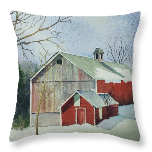 New England Throw Pillow featuring the painting Williston Barn by Mary Ellen Mueller Legault