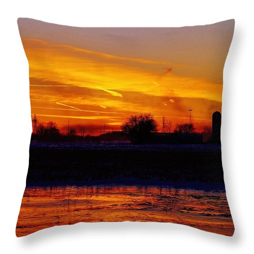 Throw Pillow featuring the photograph Willow Rd Sunset 2.27.2014 by Daniel Thompson