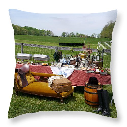 Willowdale Throw Pillow featuring the photograph Willowdale - Dining In Style by Richard Reeve