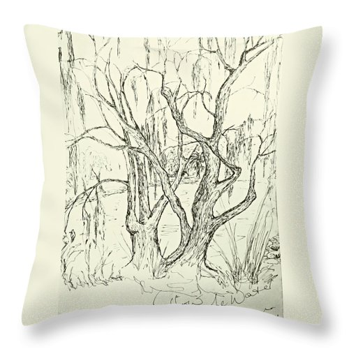 Willow Tree Throw Pillow featuring the drawing Willows By The Lake by Leanne Seymour