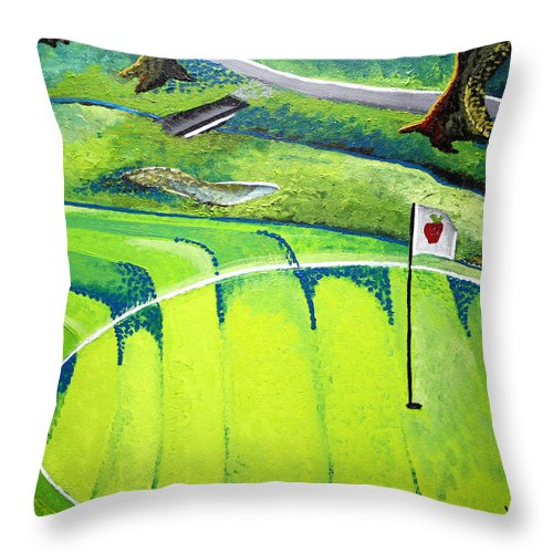 Golf Throw Pillow featuring the painting Winchester Country Club II by Wendy May